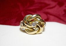 VINTAGE 18K YELLOW GOLD LOVE KNOT .17 ROUND DIAMOND RING SIZE 5.25