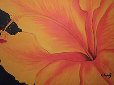 ORANGE fiore astratto grande dipinto a olio su tela moderno e contemporaneo minimal art