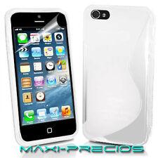 FUNDA PROTECTOR PANTALLA IPHONE 5S 5 GEL BLANCA BLANCO CARCASA TPU WHITE CASE