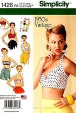 Simplicity Sewing Pattern 1426 Womens 1950's Vintage Bra Tops 14-22 retro halter