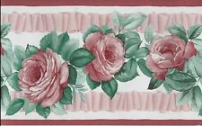 Pretty Pink Roses with Pink Ribbon on White WALLPAPER BORDER