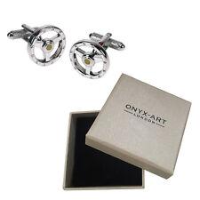 Mens Silver Round Steering Wheel Crystal Detail Cufflinks & Gift Box By Onyx Art