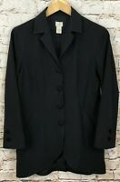 J Jill black jacket womens 4 blazer vneck stretch novelty crochet buttons C6