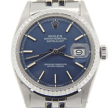 Vintage Men Rolex Stainless Steel Datejust Blue w/Original USA Oval Jubilee Band