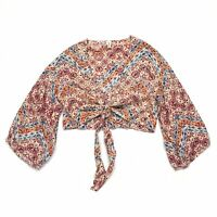 Raga Printed Tie Front 3/4 Sleeve Dancing In The Desert Wrap Crop Top Size Small
