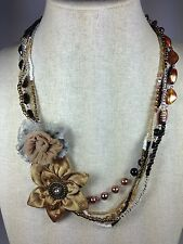 "Multi-strand Gold Brown Necklace Dahlia Rose Flower Colored Stone 23"" Handmade"