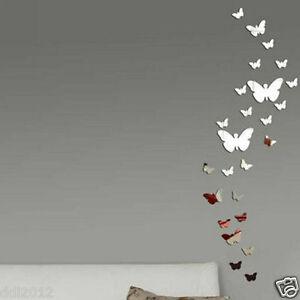 30Pcs Butterfly DIY 3D Art Silver Acrylic Mirror Wall Sticker Home Decoration