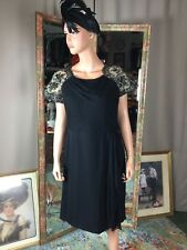 Vintage Black Nude Dress Lace Accents Size 18.5 Ruched Waist Hip Scarf Accent