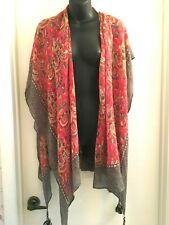 Rock Flower Paper Clementine Berry Kimono Scarf with Tassles Autumn Colors NWT