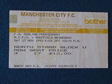 Manchester City v Sheffield Wednesday - 27/11/93 - Ticket