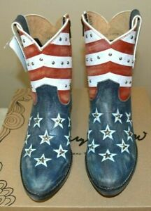 SHERYL CROW STUDDED AMERICANA HALF CALF LEATHER PATRIOTIC COWBOY BOOTS - NEW