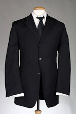 Vtg Alexandre London Savile Row Black Pinstripe 2 Piece 47 L Wool Suit 3 Button