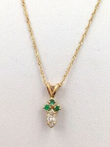 """14k Yellow Gold .33TCW Emerald and Diamond Pendant Necklace 20"""" length"""
