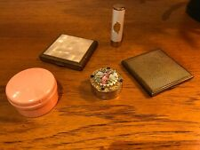 Vintage Vanity Lot 2 Powder Compacts, Empty Lipstick & 2 Pots
