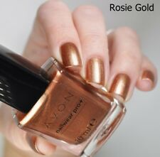 Avon Nailwear Pro+ Plus Nail Enamel Varnish Polish ' ROSIE GOLD ' shade NEW BOX