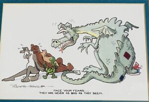"""Robert Marble """"Fears"""" Print Framed and Matted Dragon Bear Wolf Turtle Bird Used"""