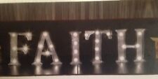 """New Apothecary 5 Piece Metal LED """"FAITH"""" Marquee Sign W/Timer Battery Operated"""