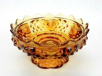 Fenton Art Glass Colonial Amber Hobnail 6 Tapered  Candle Holder Bowl Vintage