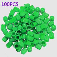 100PCS Green ABS Wheel Tire Tyre Valve Stem Caps Dust Air Cover Screw Car Bike