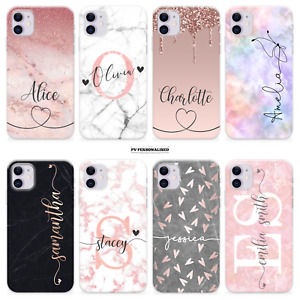 PERSONALISED PHONE CASE MARBLE NAME COVER SILICONE FOR IPHONE 7 SE 8 X MAX XR 11