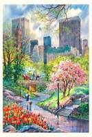 Central Park in Summer Watercolor Painting by Roustam Nour | Free Shipping
