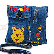 Disney Embroidered POOH Universal Jean Pouch Case for iPhone 5s 5 4 MP3 iPods