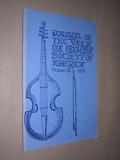 JOURNAL OF THE VIOLA DA GAMBA SOCIETY OF AMERICA. VOL 9. 1972 EARLY MUSIC ETC.
