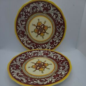 Le Cadeaux Malaga Red/Yellow Melamine 9 Inch Salad Plates set of 2 - new
