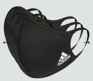NEW ADIDAS Mask(3 mask in 1 pack)FACE COVER MASK BLACK AUTHENTIC LARGE 3 Stripe