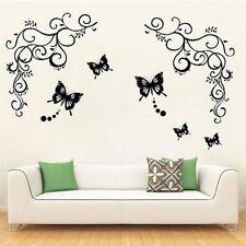 Sticker Autocollant Mural Papillons Fleur Vigne Large Mur Salon ChambreNoir IDXX