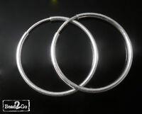1 x Pair of 925 Solid Sterling Silver 22mm Tube Hoop Sleeper Earrings - Hoops
