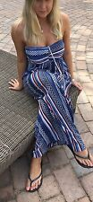 QUEENIE PARIS BARDOT BANDEAU TOP BLUE SUMMER BEACH MAXI DRESS SIZE UK 10