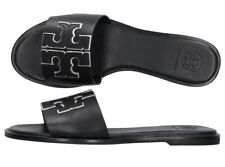 NEW auth $228 TORY BURCH 11 Ines Black Leather T-Logo Slides Flat SANDALS