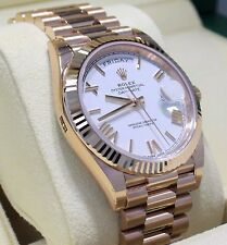 Rolex President 40mm Day-Date 228235 18K Rose Gold White Roman Dial Watch *NEW*