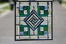Modern Beveled Stained Glass Window Panel ,Ready to Hang (❁´◡`❁)