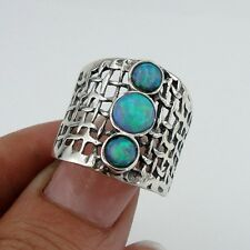 Opal Ring, Stunning Handcrafted 925 Sterling Silver Opal Ring size 7, Blue Opal