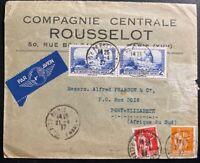 1937 Paris France Airmail Commercial Cover To Port Elizabeth South África