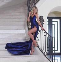 Navy Blue Slinky Satin Slit Wrap Maxi Dress Celebrity Style Sizes XS-L Gown