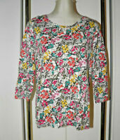Talbots L Knit Top Shirt Floral Print Multi-color with Gray 3/4 Sleeves Pullover