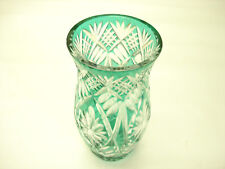 Old Vintage Bohemian Czech Republic Big Beautiful Green Vase Hand Cut To Clear