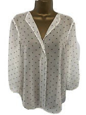 ZARA UK 8 IVORY BLACK STAR PRINT SHEER OVERSIZED FLOATY BLOUSE SHIRT TOP