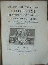 Eloge funèbre du Grand Dauphin, Louis XIV, Porée, Voltaire Meudon XVIIIe Gravure