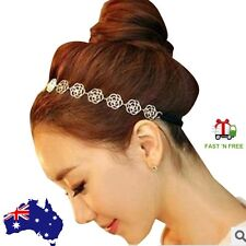 Gold Flower Rose Hair Accessories Headband Head Chain Bridal Wedding Jewelery