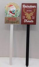 """Set of 2 New Wood 17"""" Christmas Yard Garden Stakes Reindeer & Santa"""