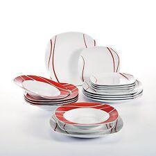 18-pieces Porcelain Crockery Ceramic Dinner Sets Red Stripes Dessert Soup Plate
