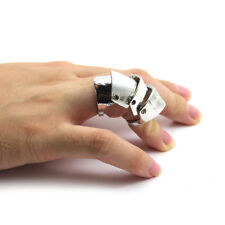 3 Color Vintage Style Unisex Chic 4 Steps Hinged Joint Armor Finger Ring Popular
