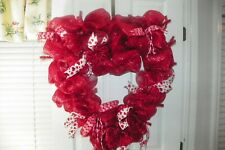 """VALENTINE HEART"" DECO MESH WREATH"