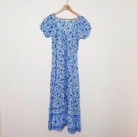 Alice Elle Size 10 Blue White Floral Boho Gypsy Spring Maxi Dress