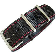 20mm Hadley-Roma MS4220 Black Nylon Red Stitch MoD G10 Military Watch Band Strap