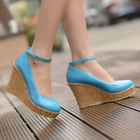 UK Womens Wedge High Heel Round Toe Shoes Platform Ankle Strap Pumps Court Shoes